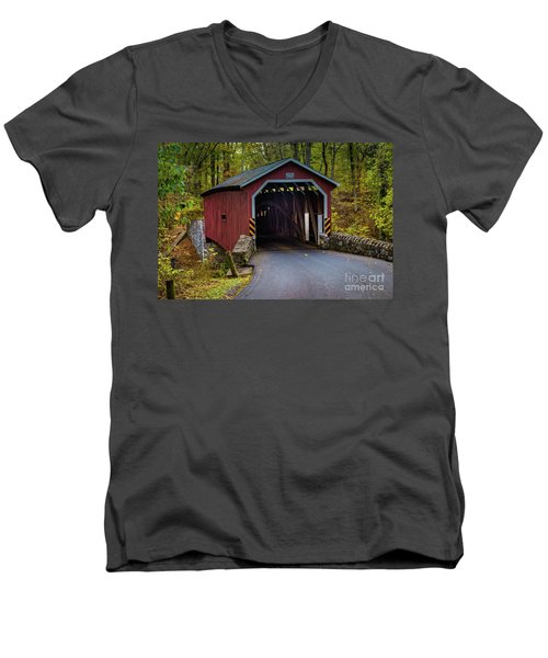Kurtz Mill Covered Bridge Men's V-Neck T-Shirt