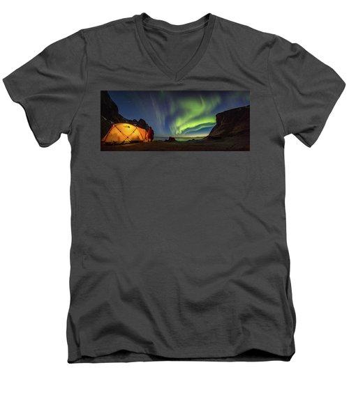 Kvalvika Under The Lights Men's V-Neck T-Shirt by Alex Conu