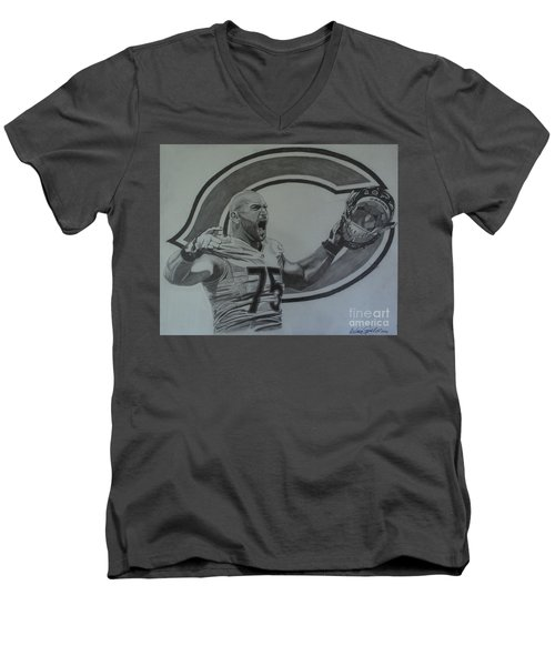 Men's V-Neck T-Shirt featuring the drawing Kyle Long Portrait by Melissa Goodrich