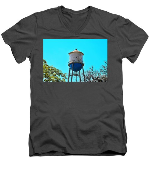 Kyle Texas Water Tower Men's V-Neck T-Shirt by Ray Shrewsberry