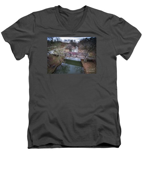 Kymulga Covered Bridge Aerial 2 Men's V-Neck T-Shirt