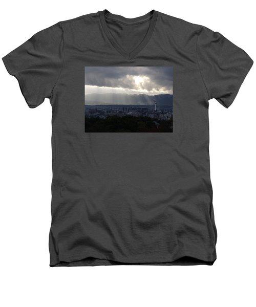 Kyoto Skyline Men's V-Neck T-Shirt by Pete Hall