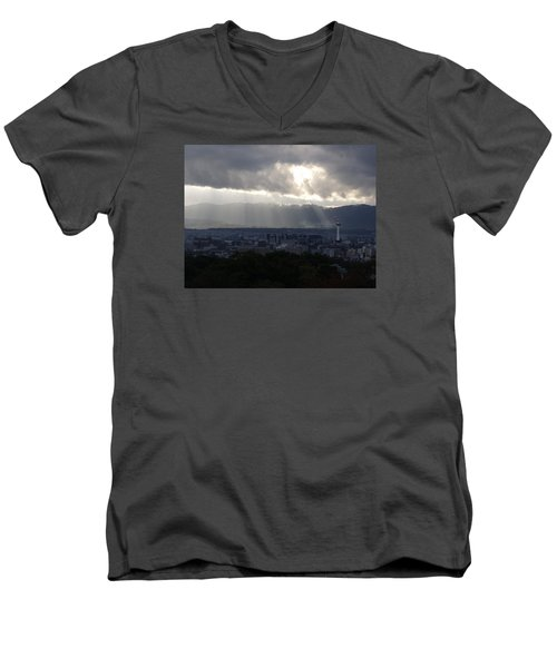 Kyoto Skyline Men's V-Neck T-Shirt