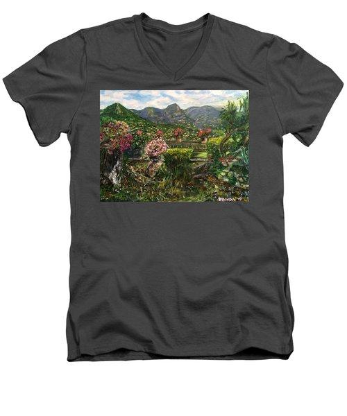 Men's V-Neck T-Shirt featuring the painting La Belle Vence by Belinda Low