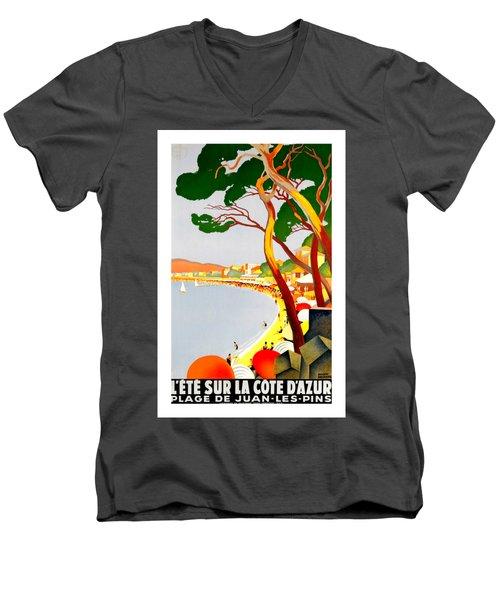 La Cote D Azur French Riviera 1930 Roger Broders Men's V-Neck T-Shirt