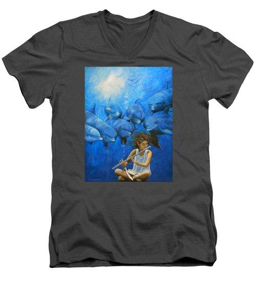 La Flautista Men's V-Neck T-Shirt