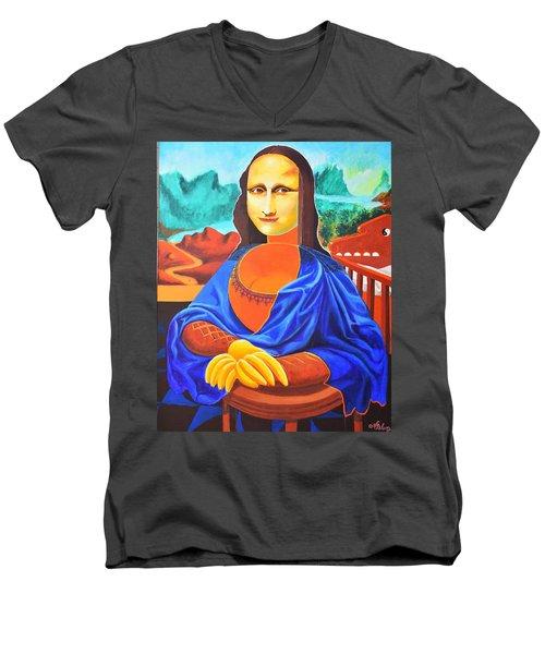 La Joconde Sur La Table Au Bol Vide Men's V-Neck T-Shirt