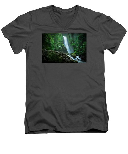 Men's V-Neck T-Shirt featuring the photograph La Paz Waterfall Costa Rica by RC Pics