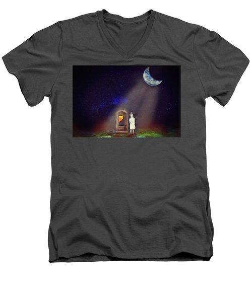 Men's V-Neck T-Shirt featuring the digital art La Petite Princesse by John Haldane
