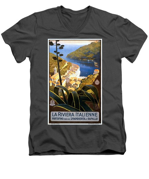 La Riviera Italienne, Travel Poster For Enit, Ca. 1920 Men's V-Neck T-Shirt