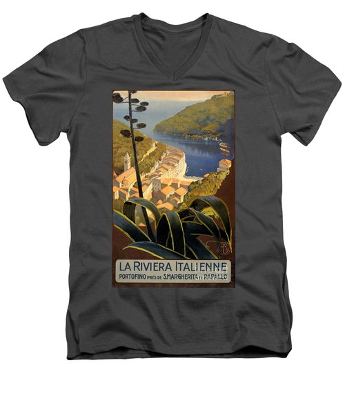La Riviera Italienne Vintage Travel Poster Restored Men's V-Neck T-Shirt