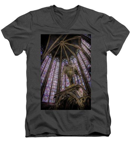 Paris, France - La-sainte-chapelle - Apse And Canopy Men's V-Neck T-Shirt