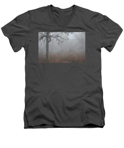 Men's V-Neck T-Shirt featuring the photograph La Vernia Fog IIi by Carolina Liechtenstein