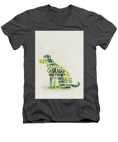 Men's V-Neck T-Shirt featuring the painting Labrador Retriever Watercolor Painting / Typographic Art by Ayse and Deniz