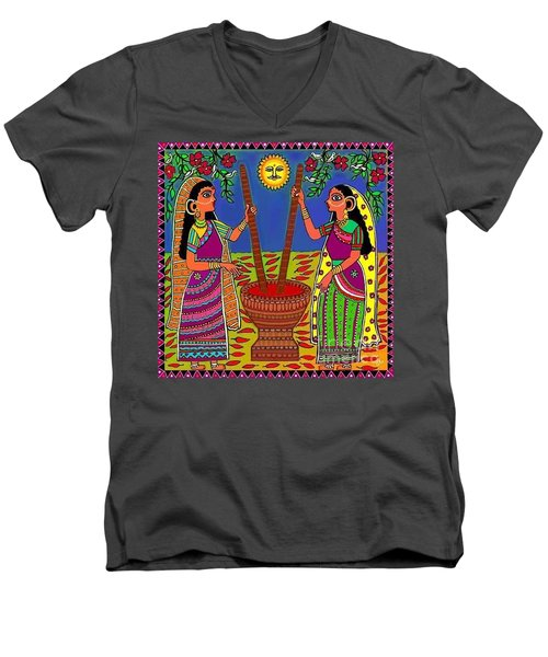 Men's V-Neck T-Shirt featuring the digital art Ladies Crushing Chili Peppers by Latha Gokuldas Panicker