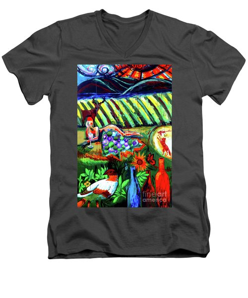 Men's V-Neck T-Shirt featuring the painting Lady And The Grapes by Genevieve Esson