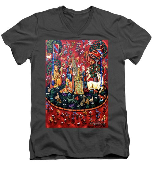 Men's V-Neck T-Shirt featuring the painting Lady And The Unicorn Sound by Genevieve Esson