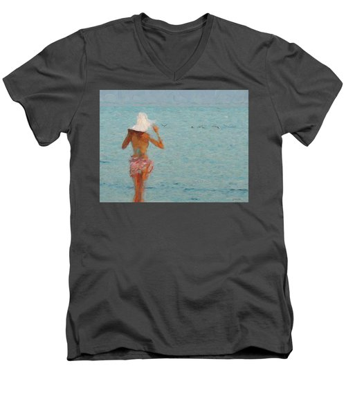 Lady At The Beach Men's V-Neck T-Shirt