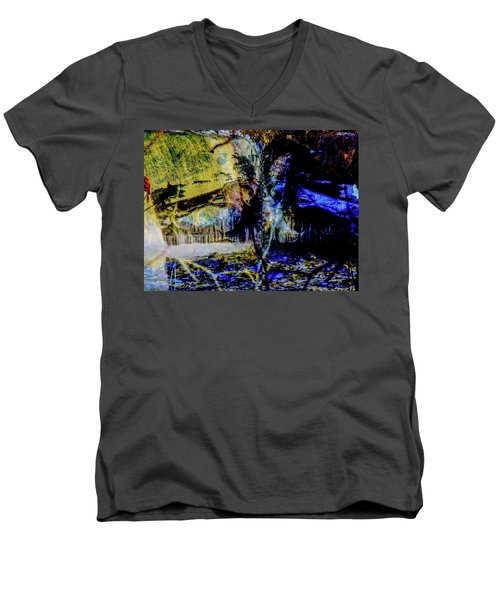Lady At The Beach Through The Frozen Falls Men's V-Neck T-Shirt