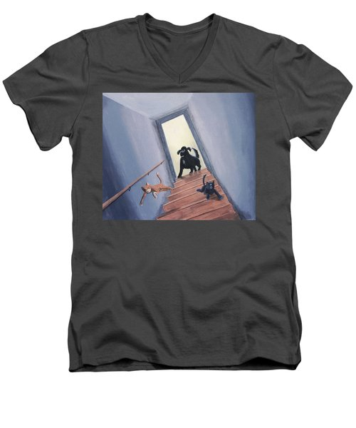 Lady Chases The Cats Down The Stairs Men's V-Neck T-Shirt