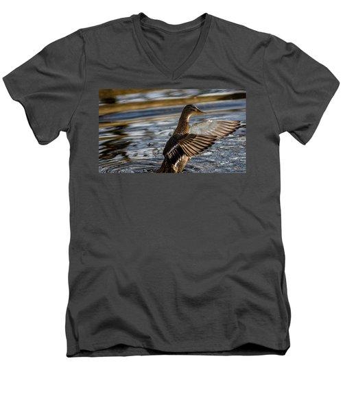 Lady Duck Men's V-Neck T-Shirt by Rainer Kersten