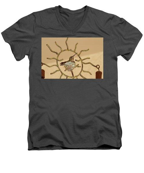 Lady Hummingbird On Her Nest Men's V-Neck T-Shirt