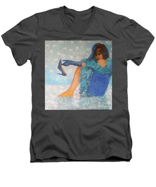 Lady In Blue Men's V-Neck T-Shirt