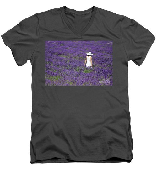 Lady In Lavender Field Men's V-Neck T-Shirt