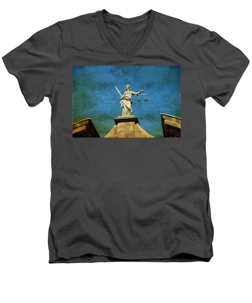 Lady Justice. Streets Of Dublin. Painting Collection Men's V-Neck T-Shirt
