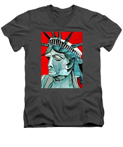 Lady Liberty Men's V-Neck T-Shirt by Anna Porter