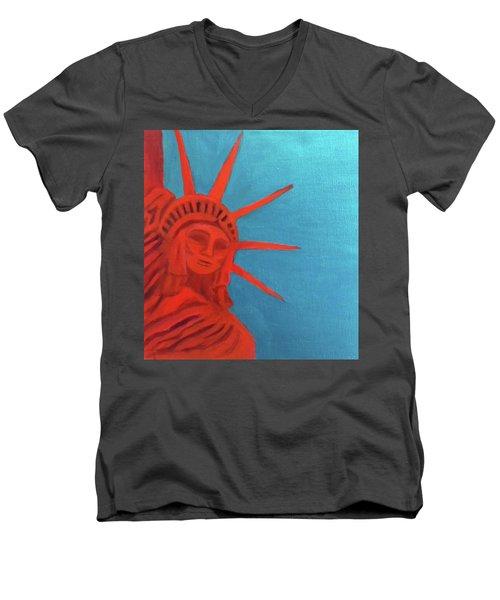 Lady Liberty Men's V-Neck T-Shirt by Margaret Harmon