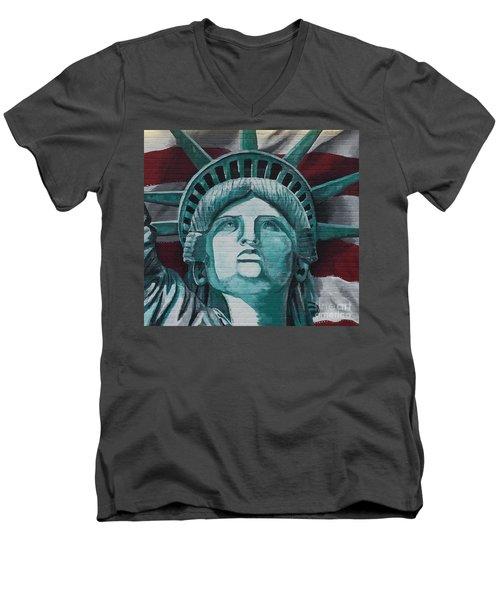 Lady Liberty Men's V-Neck T-Shirt by Stan Tenney
