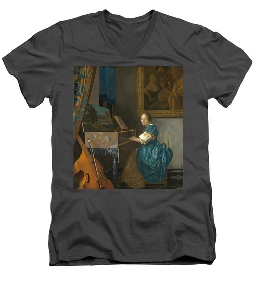 Lady Seated At A Virginal Men's V-Neck T-Shirt