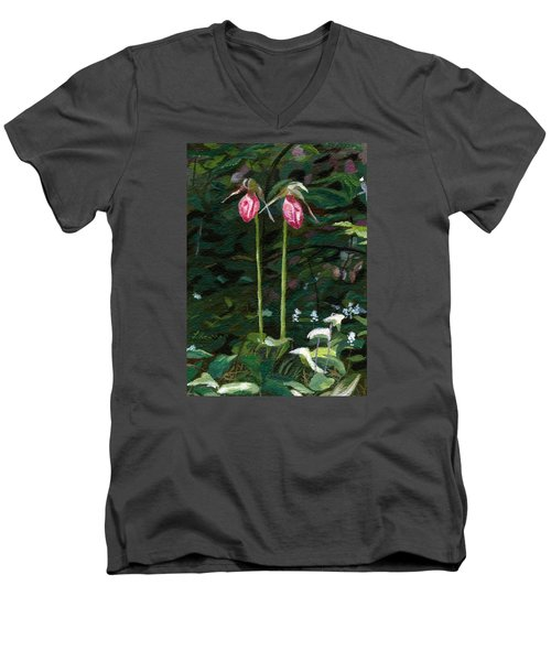 Men's V-Neck T-Shirt featuring the painting Lady Slipper by Lynne Reichhart