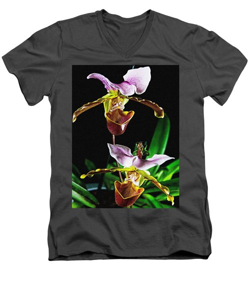 Men's V-Neck T-Shirt featuring the photograph Lady Slipper Orchid by Elf Evans