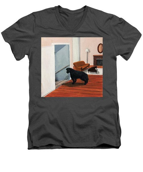 Lady Stares Down The Big Stairs Men's V-Neck T-Shirt
