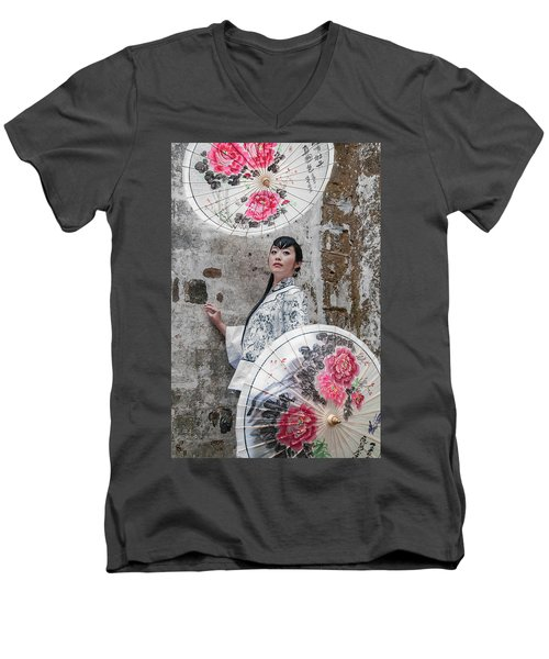 Lady With An Umbrella. Men's V-Neck T-Shirt