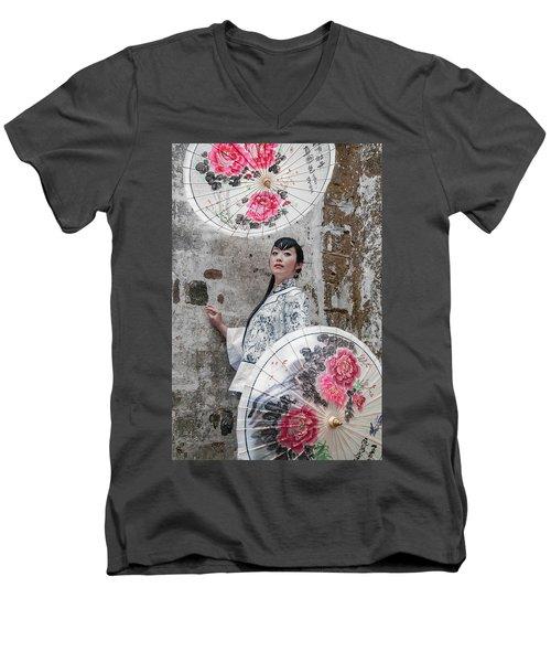 Lady With An Umbrella. Men's V-Neck T-Shirt