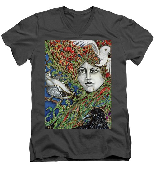 Men's V-Neck T-Shirt featuring the painting Ladybird by Rae Chichilnitsky