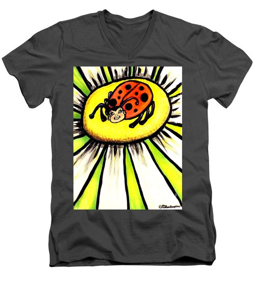 Men's V-Neck T-Shirt featuring the painting Ladybug On A Flower by Patricia L Davidson
