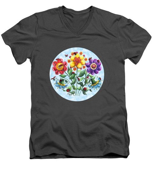 Ladybug Playground On A Summer Day Men's V-Neck T-Shirt by Shelley Wallace Ylst
