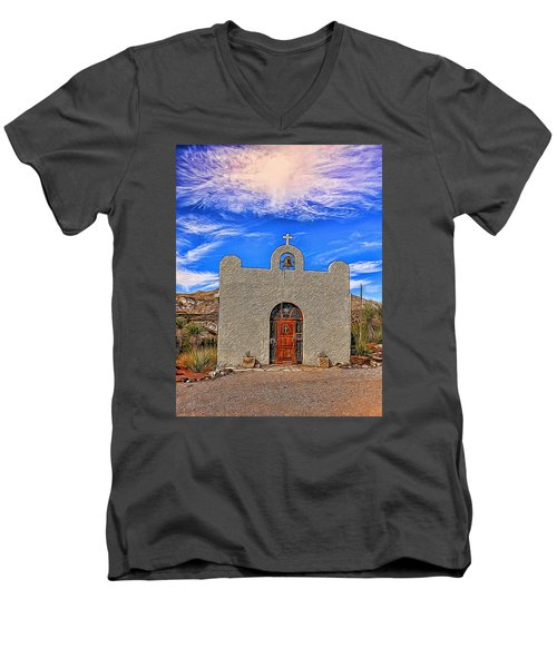 Lajitas Chapel Painted Men's V-Neck T-Shirt by Judy Vincent