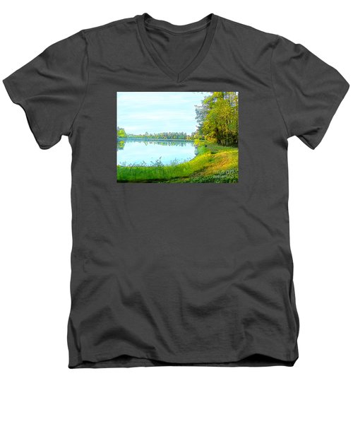 Lake And Woods Men's V-Neck T-Shirt by Craig Walters