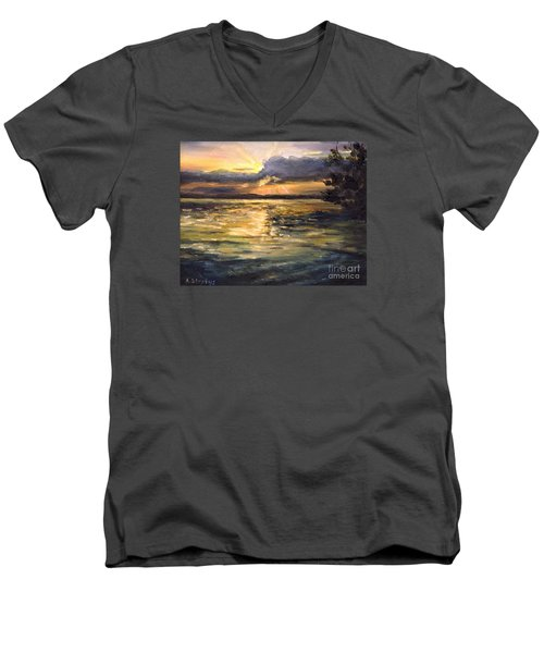 Men's V-Neck T-Shirt featuring the painting Lake by Arturas Slapsys