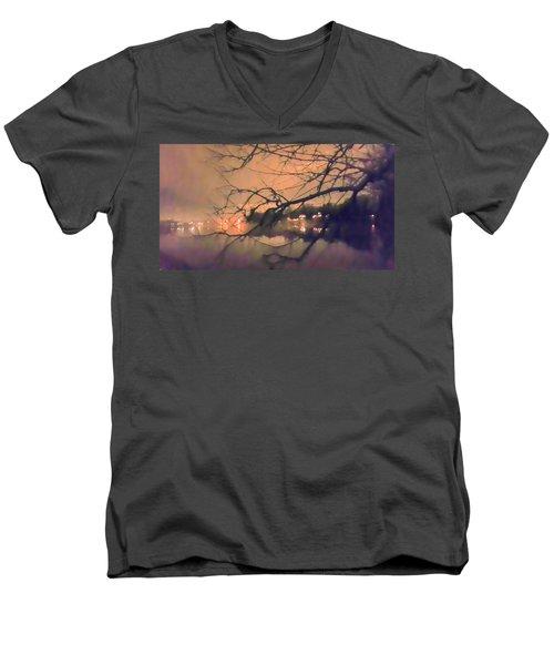 Foggy Lake At Night Through Branches Men's V-Neck T-Shirt