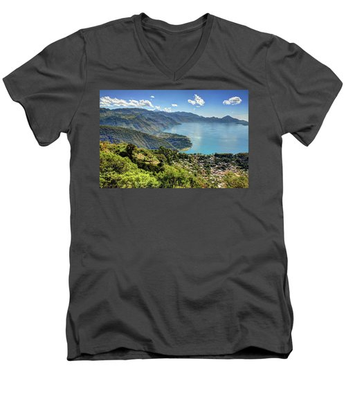 Lake Atitlan Men's V-Neck T-Shirt by John Loreaux