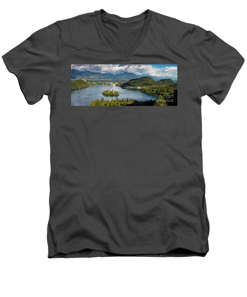 Men's V-Neck T-Shirt featuring the photograph Lake Bled Pano by Brian Jannsen