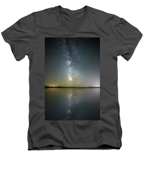 Men's V-Neck T-Shirt featuring the photograph Lake Cavour by Aaron J Groen