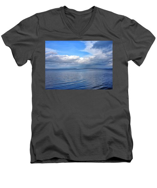 Men's V-Neck T-Shirt featuring the photograph Lake Champlain From New York by Brendan Reals