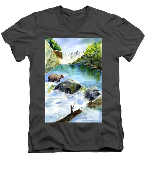 Lake Clementine Falls Bear Men's V-Neck T-Shirt